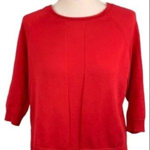 Autumn Cashmere Red Tan Knit High Low Top